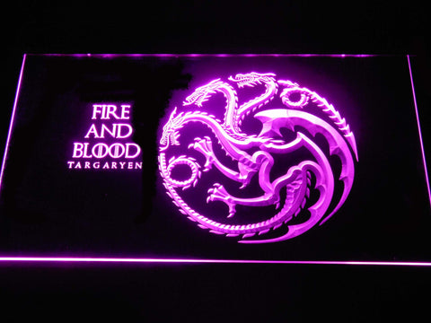 Image of Game of Thrones Targaryen Fire and Blood LED Neon Sign - Purple - SafeSpecial