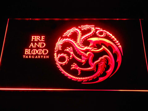Image of Game of Thrones Targaryen Fire and Blood LED Neon Sign - Red - SafeSpecial