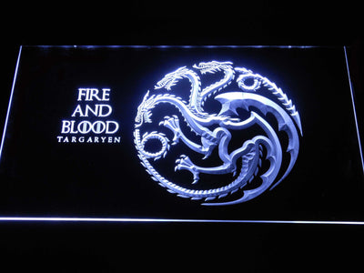 Game of Thrones Targaryen Fire and Blood LED Neon Sign - White - SafeSpecial