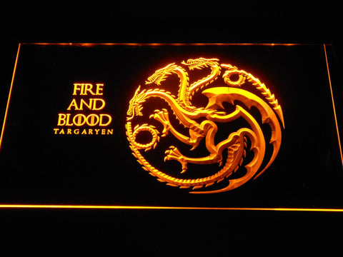 Image of Game of Thrones Targaryen Fire and Blood LED Neon Sign - Yellow - SafeSpecial