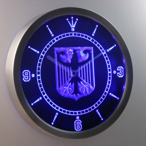 German Eagle Flag LED Neon Wall Clock - Blue - SafeSpecial