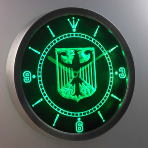German Eagle Flag LED Neon Wall Clock - Green - SafeSpecial