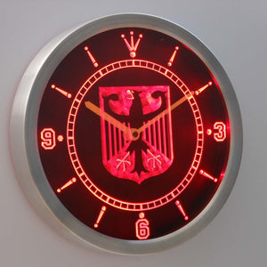 German Eagle Flag LED Neon Wall Clock - Red - SafeSpecial