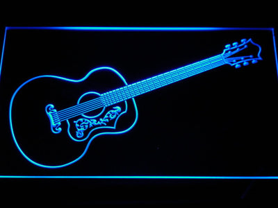 Gibson Vintage Acoustic LED Neon Sign - Blue - SafeSpecial