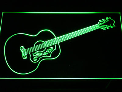 Gibson Vintage Acoustic LED Neon Sign - Green - SafeSpecial