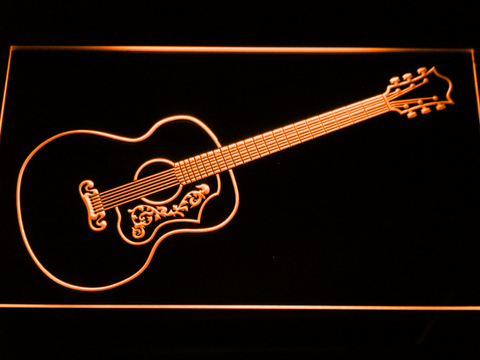 Gibson Vintage Acoustic LED Neon Sign - Orange - SafeSpecial