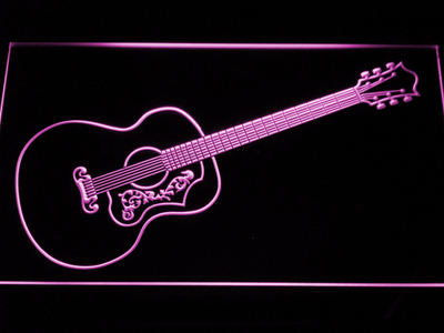 Gibson Vintage Acoustic LED Neon Sign - Purple - SafeSpecial