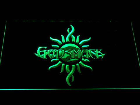 Image of Godsmack Sun Logo LED Neon Sign - Green - SafeSpecial