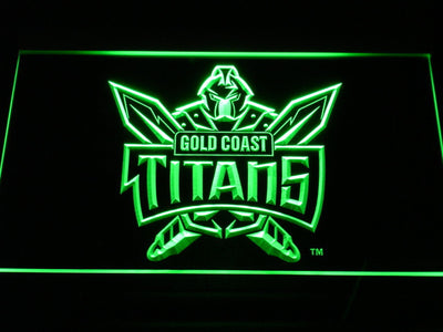 Gold Coast Titans LED Neon Sign - Green - SafeSpecial