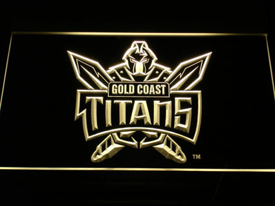 Gold Coast Titans LED Neon Sign - Yellow - SafeSpecial