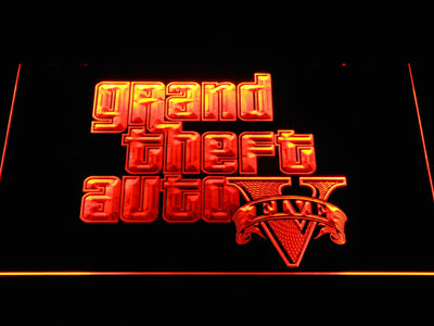 Grand Theft Auto Five LED Neon Sign - Orange - SafeSpecial