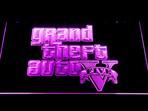 Image of Grand Theft Auto Five LED Neon Sign - Purple - SafeSpecial
