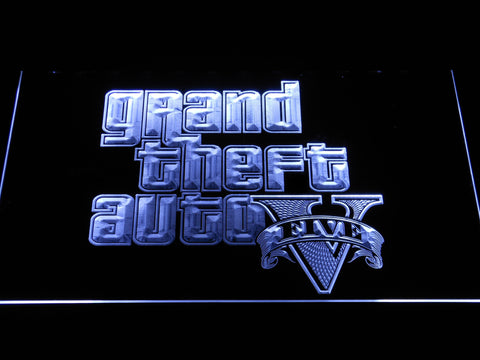 Image of Grand Theft Auto Five LED Neon Sign - White - SafeSpecial