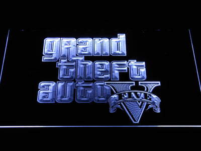 Grand Theft Auto Five LED Neon Sign - White - SafeSpecial