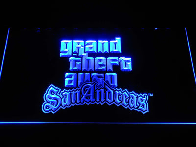 Grand Theft Auto San Andreas LED Neon Sign - Blue - SafeSpecial