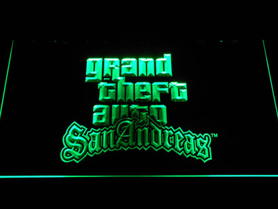 Grand Theft Auto San Andreas LED Neon Sign - Green - SafeSpecial