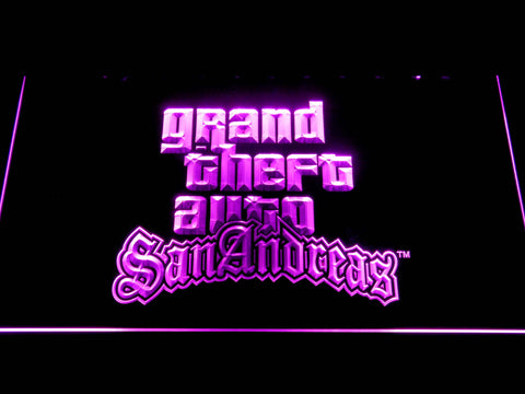Image of Grand Theft Auto San Andreas LED Neon Sign - Purple - SafeSpecial