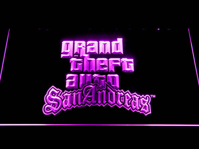 Grand Theft Auto San Andreas LED Neon Sign - Purple - SafeSpecial