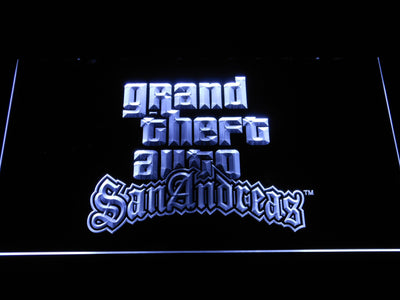 Grand Theft Auto San Andreas LED Neon Sign - White - SafeSpecial