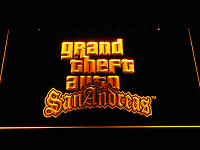 Grand Theft Auto San Andreas LED Neon Sign - Yellow - SafeSpecial