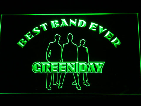 Green Day Silhouette Best Band Ever LED Neon Sign - Green - SafeSpecial