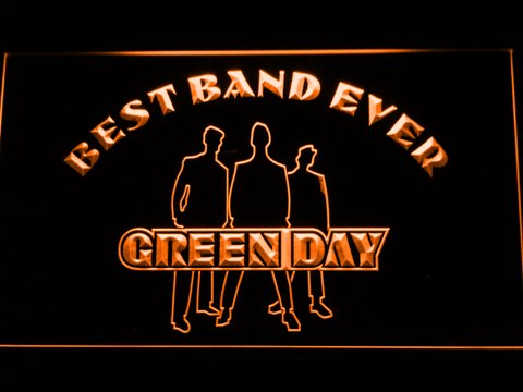 Green Day Silhouette Best Band Ever LED Neon Sign - Orange - SafeSpecial