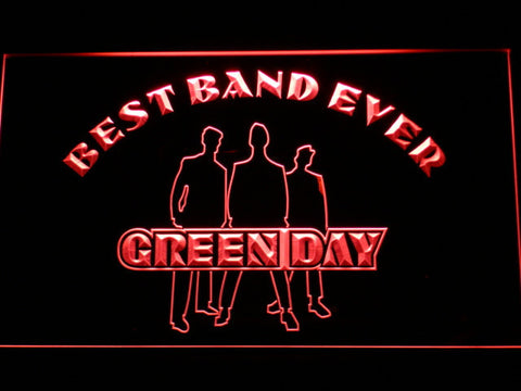 Green Day Silhouette Best Band Ever LED Neon Sign - Red - SafeSpecial