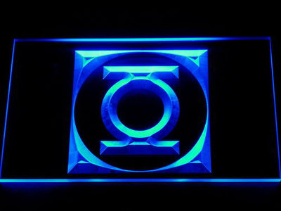 Green Latern Icon LED Neon Sign - Blue - SafeSpecial
