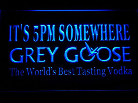 Grey Goose It's 5pm Somewhere LED Neon Sign - Blue - SafeSpecial