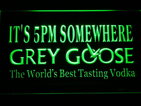 Grey Goose It's 5pm Somewhere LED Neon Sign - Green - SafeSpecial