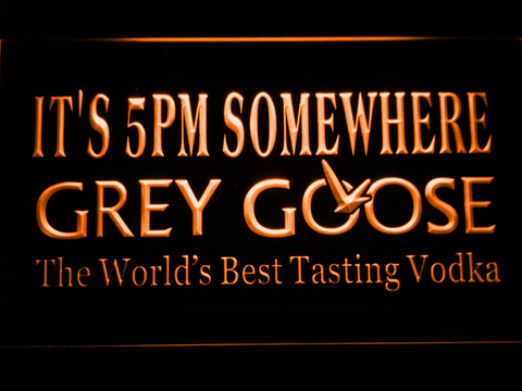 Grey Goose It's 5pm Somewhere LED Neon Sign - Orange - SafeSpecial