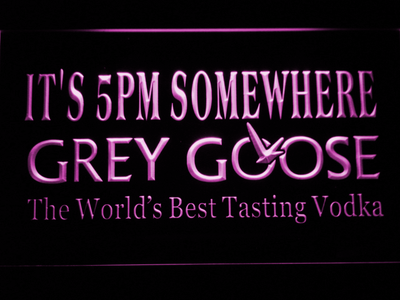 Grey Goose It's 5pm Somewhere LED Neon Sign - Purple - SafeSpecial