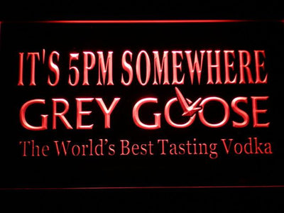 Grey Goose It's 5pm Somewhere LED Neon Sign - Red - SafeSpecial