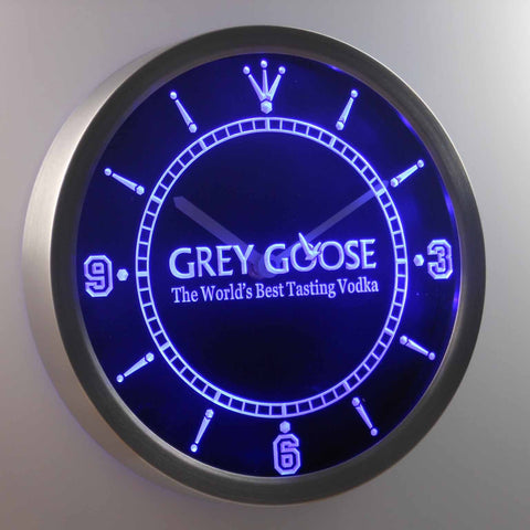 Image of Grey Goose LED Neon Wall Clock - Blue - SafeSpecial