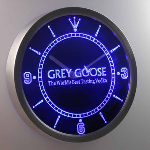 Grey Goose LED Neon Wall Clock - Blue - SafeSpecial
