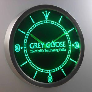 Grey Goose LED Neon Wall Clock - Green - SafeSpecial