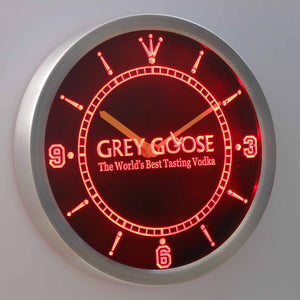 Grey Goose LED Neon Wall Clock - Red - SafeSpecial