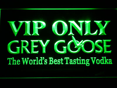Grey Goose VIP Only LED Neon Sign - Green - SafeSpecial