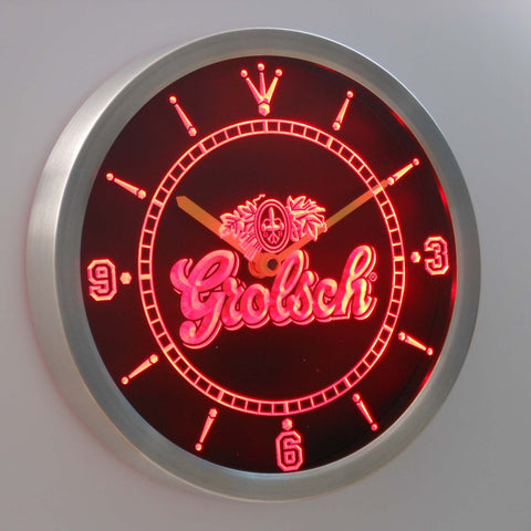 Grolsch LED Neon Wall Clock - Red - SafeSpecial