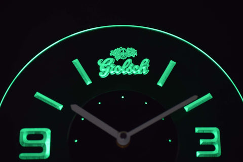 Image of Grolsch Modern LED Neon Wall Clock - Green - SafeSpecial