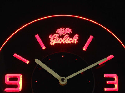 Grolsch Modern LED Neon Wall Clock - Red - SafeSpecial