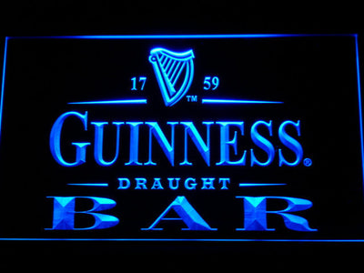 Guinness Draught Bar LED Neon Sign - Blue - SafeSpecial