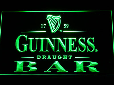 Guinness Draught Bar LED Neon Sign - Green - SafeSpecial