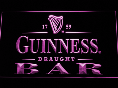 Guinness Draught Bar LED Neon Sign - Purple - SafeSpecial