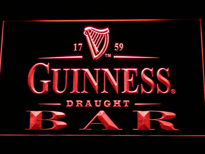 Guinness Draught Bar LED Neon Sign - Red - SafeSpecial