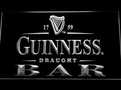 Guinness Draught Bar LED Neon Sign - White - SafeSpecial