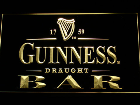 Image of Guinness Draught Bar LED Neon Sign - Yellow - SafeSpecial