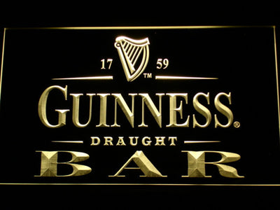 Guinness Draught Bar LED Neon Sign - Yellow - SafeSpecial