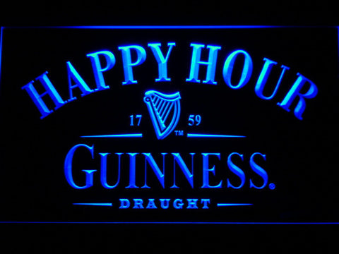 Guinness Draught Happy Hour LED Neon Sign - Blue - SafeSpecial