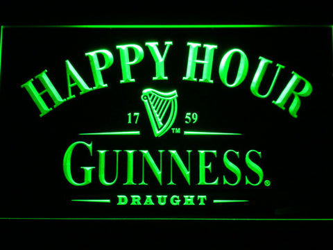 Image of Guinness Draught Happy Hour LED Neon Sign - Green - SafeSpecial